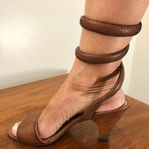 SOLD Vintage Maud Frizon Skin Ankle Coil Sandal 6